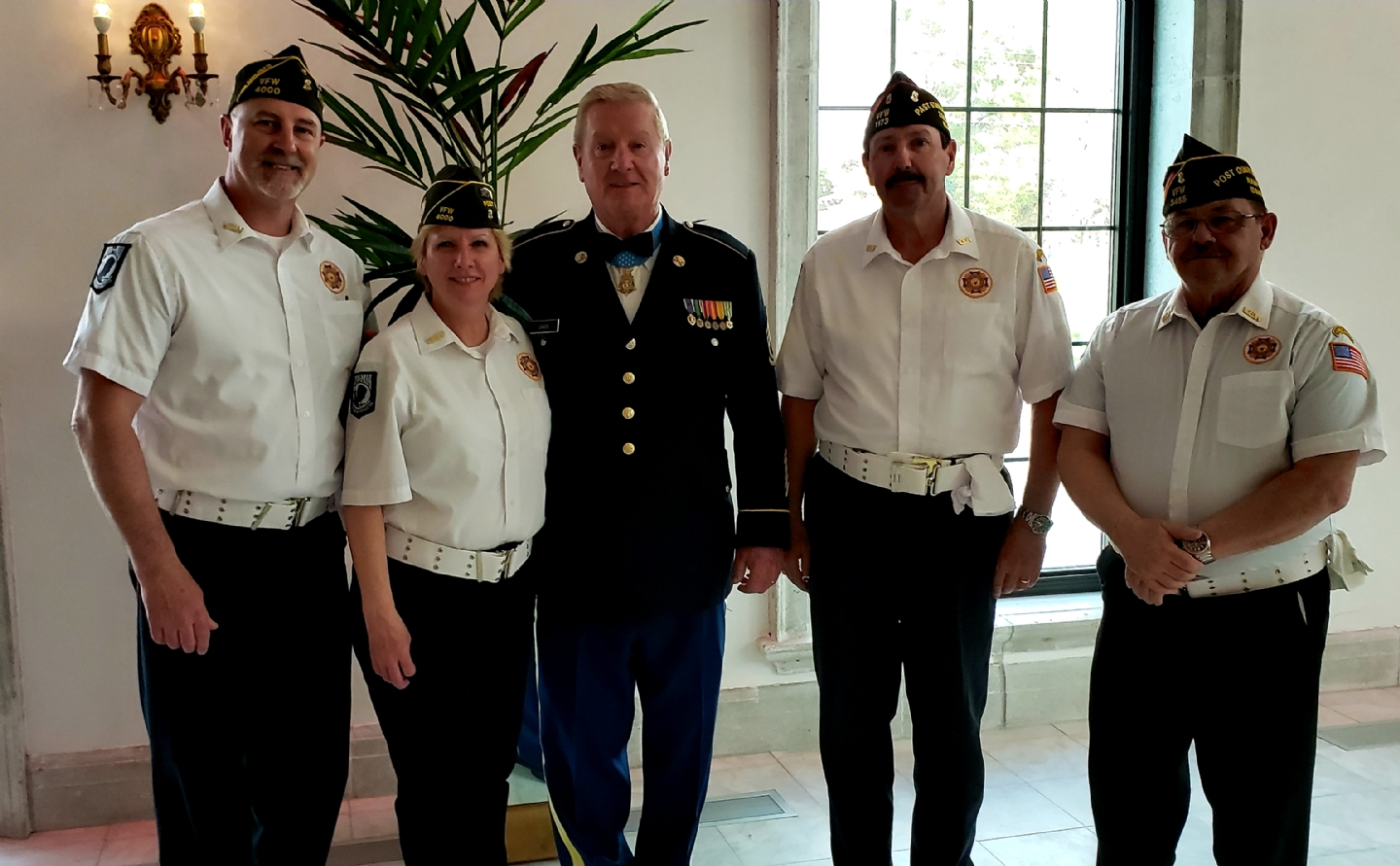 Medal of Honor recipient Sammy Lee Davis with District 5 Honor Guard